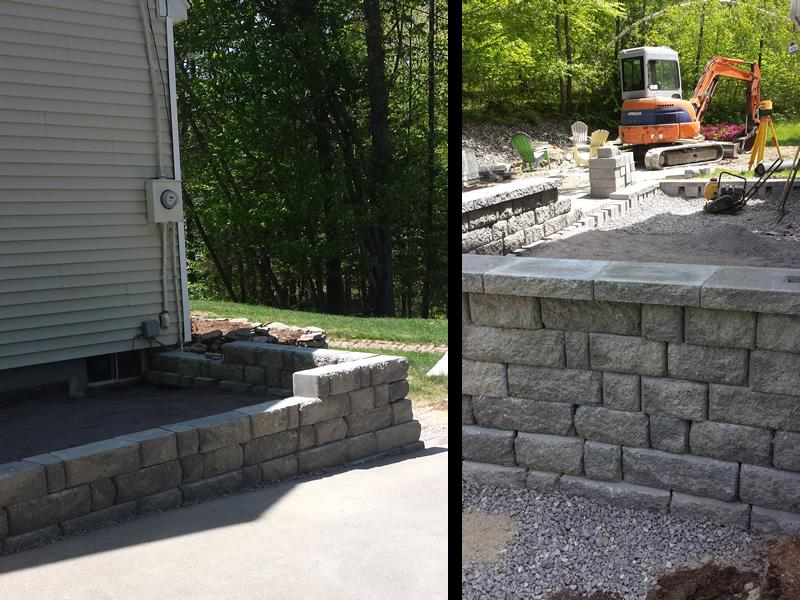 Next the wall was built and using different sized stone creates a visually appealing texture to the wall with the added bonus of interlocking the stone for durability.